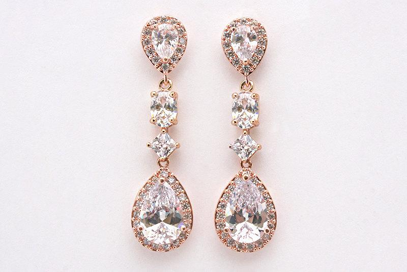 زفاف - Cameron - Rose Gold Wedding Earrings, CZ Bridal Earrings, Crystal Teardrop Earrings, Bridal Jewelry, Cubic Zirconia, Bridesmaid Jewelry