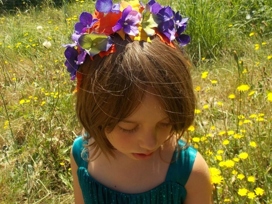 Mariage - Fall Leaf Garland Headband Crown with Purple Hydrangea Flowers and Autumn Leaves, Orange and Purple Flower and Leaf Crown, Fall Wedding B06