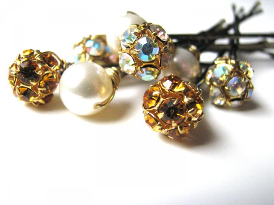 Свадьба - Autumn Wedding Hair Pins, Wire Wrapped Topaz AB Crystal, and Ivory Pearls Autumn Glitz and Shimmer