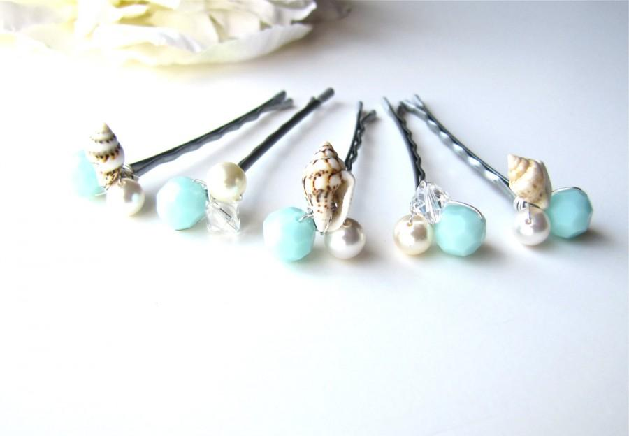 Boda - Beach Wedding Hair Pins Seashell and Mint Seafoam Set of 5