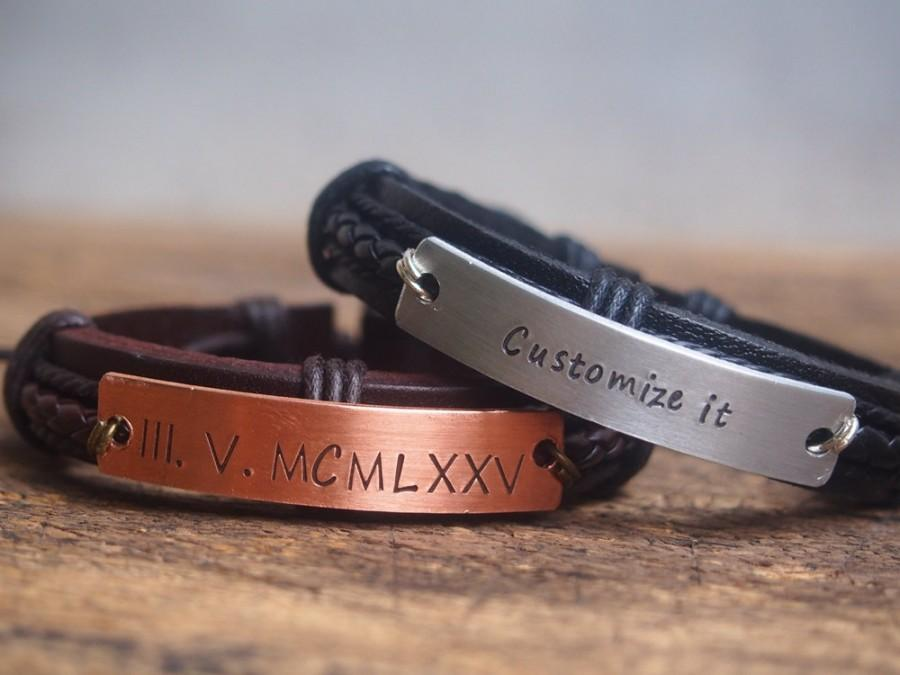 Personalized Men S Bracelet Customized Boyfriend Gift Roman Numeral Engraved Anniversary