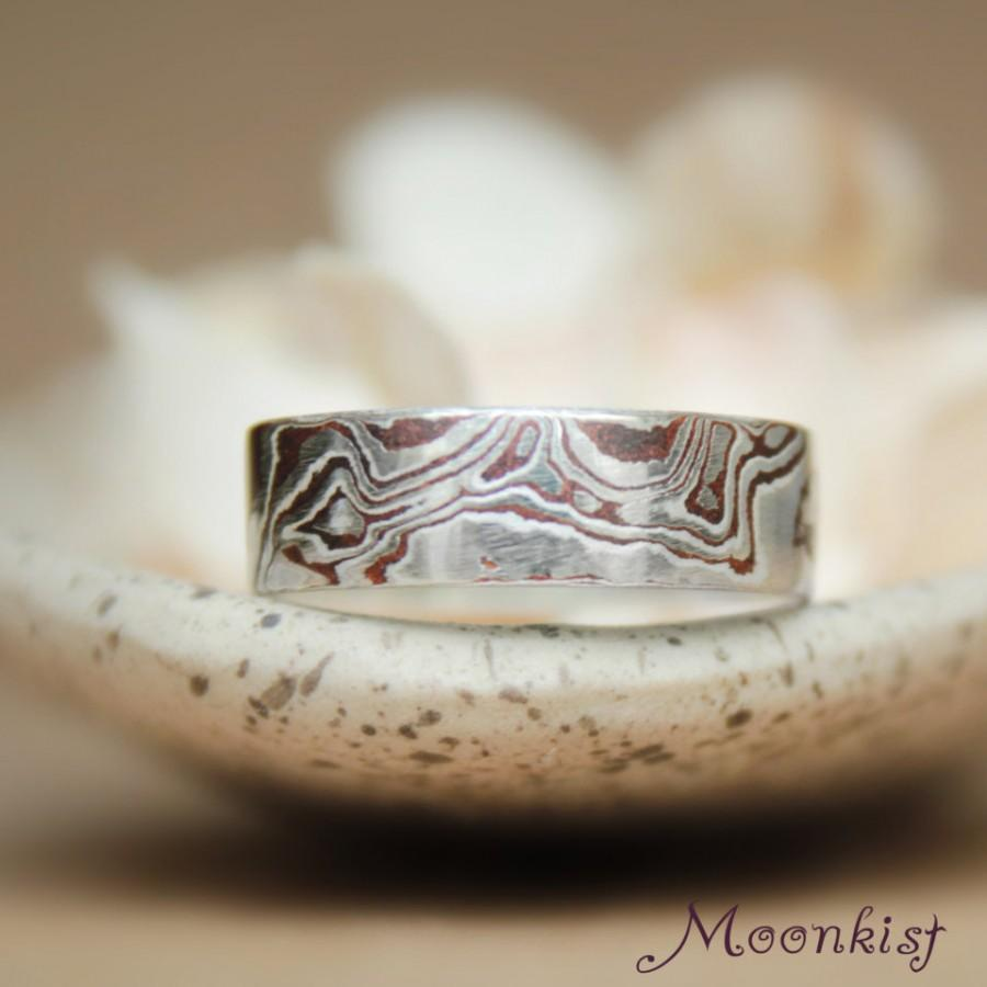 mokume gane wedding band in copper and argentium silver mokume gane wedding bands Mokume Gane Wedding Band in Copper and Argentium Silver