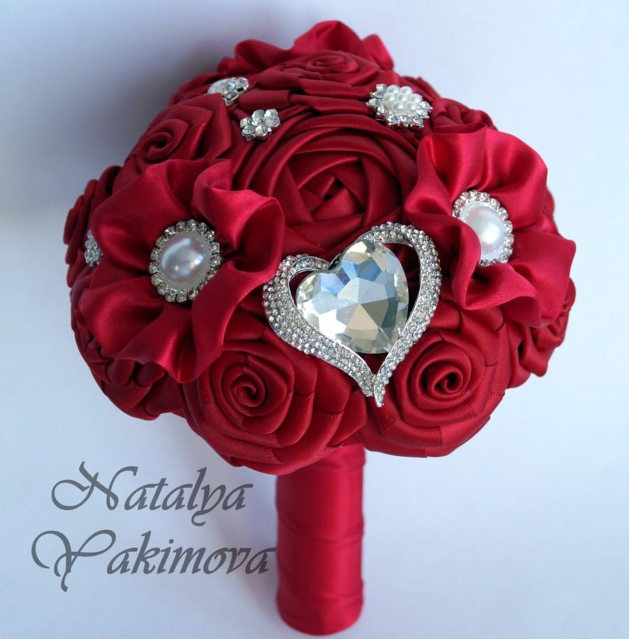 Свадьба - Bridesmaid's bouquet, Wedding Toss bouquet, red bouquet, mini bouquet, Unique Wedding Bridal Bouquet, Wedding Accessories, Wedding set
