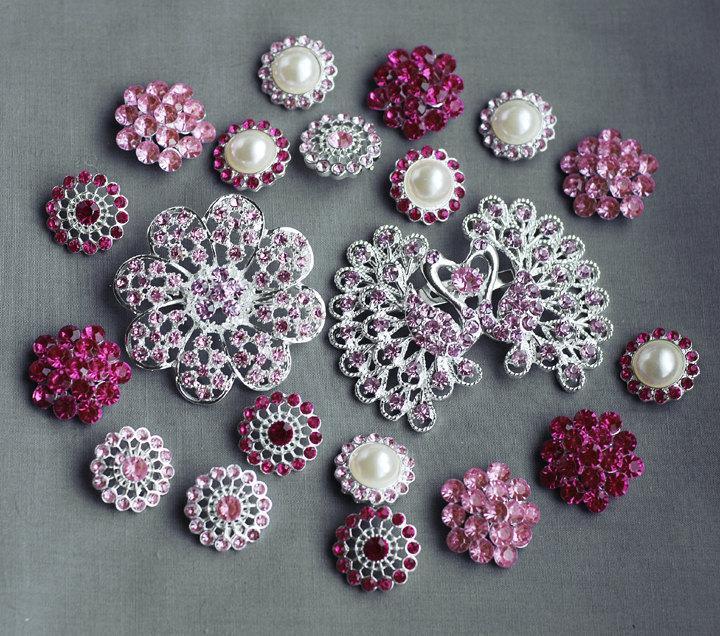 Wedding - 20 Pink Rhinestone Button Brooch Assorted Embellishment Pearl Crystal Brooch Bouquet Supply Light Rose Fuchsia Hot Pink BT152