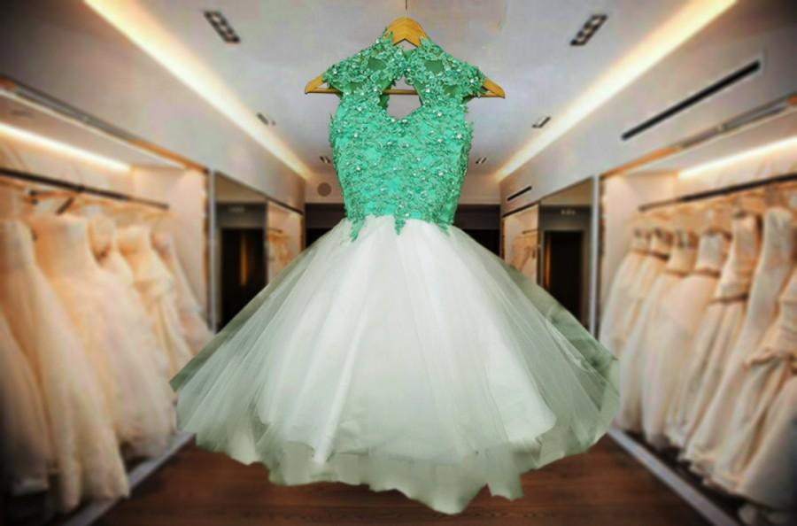 Hochzeit - Elegant MInt Flower Girl Dress Lace Beaded Tulle girls Capp sleeve Party Tutu Dress Customize to suit your theme