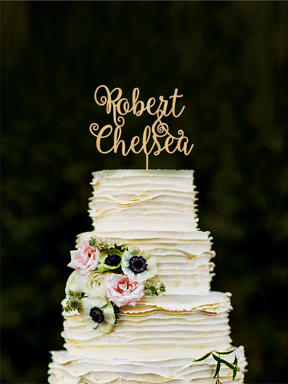 Custom Cake Topper Wedding Decorations Personalized Bride And Groom Name Toppers For Cakes Initial