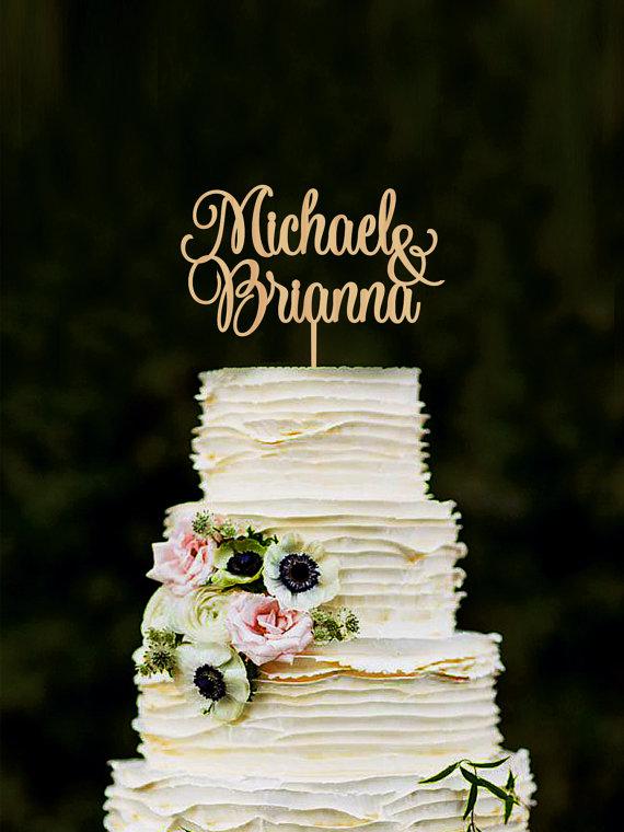 Свадьба - Wedding Cake Topper Personalized Names Cake Topper Custom Cake Topper Wood Cake Topper Silver Cake Topper Gold Cake Topper