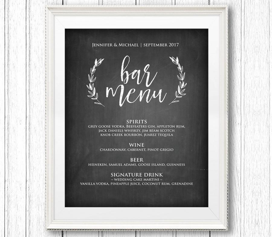 Bar Menu Sign, Printable Wedding Sign, Rustic Chalkboard Drink