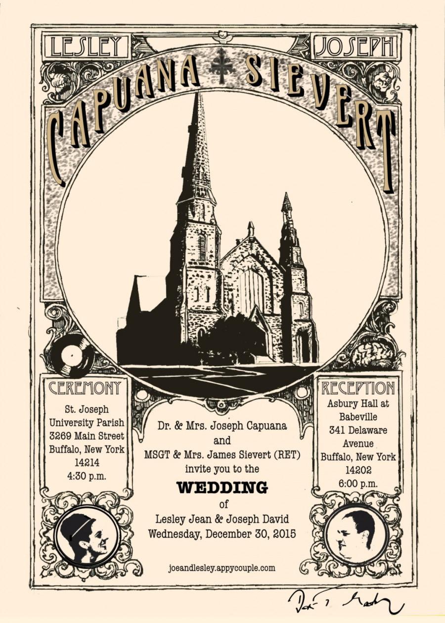 Mariage - Custom Illustrated Wedding Invitation with response card