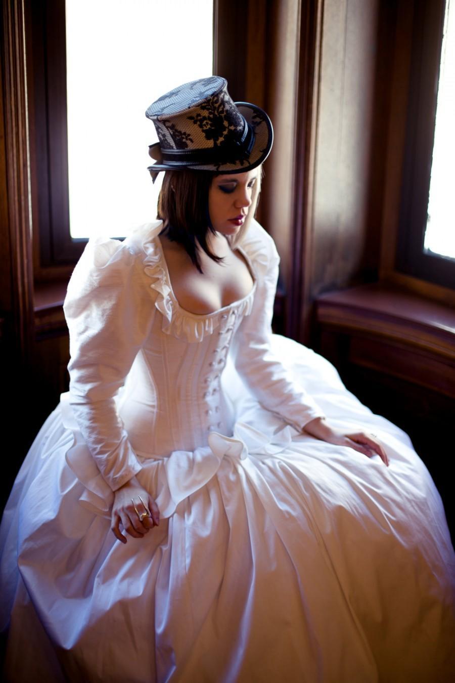 Hochzeit - Steampunk Wedding Dress- Corset Jacket Alternative Bridal Gown Cinderella Fairytale- Custom to Order