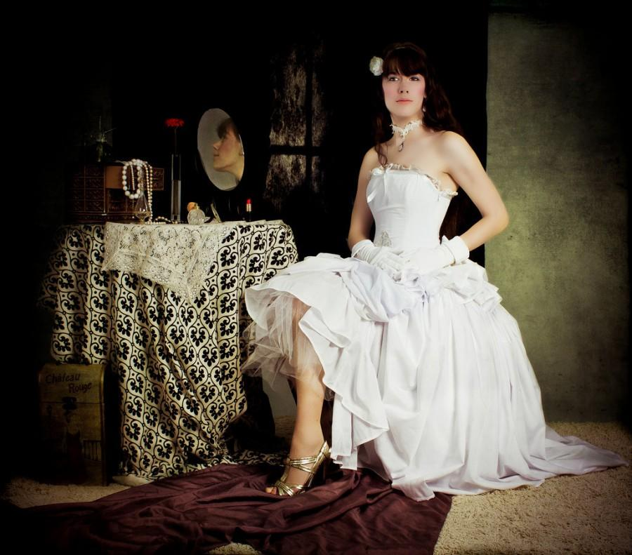 Hochzeit - Lolita Wedding Dress- Aysmetrical Hem Fairytale Cinderella Inspired - White Cotton Bridal Gown-Custom to your Size