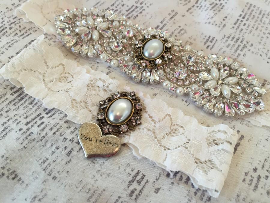 Свадьба - Crystal Wedding Garter, Vintage Wedding Garter Set, Vintage Garters, Lace Garters, Wedding Garter Ivory, Ivory Garter Set, Lace Garter Set