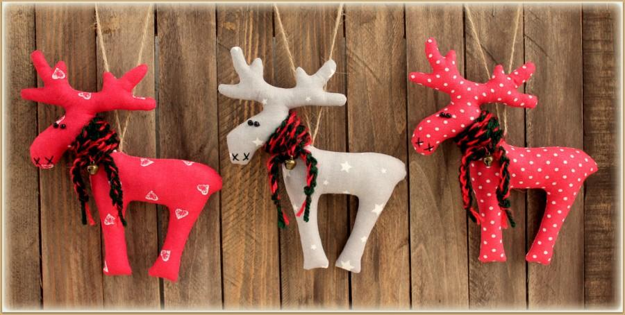 Set Of 3 Toys Reindeer Christmas Decor Winter Décor Gift Soft Home ...