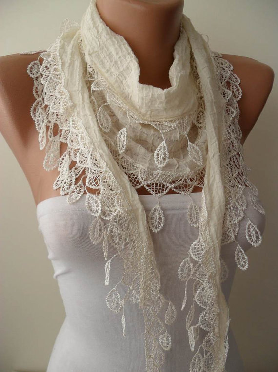 Mariage - Christmas Gift Creamy White Scarf Shawl Cowl with Lace Edge Fashion Accessories Winter Women Fashion Accessories Christmas Gift For Her