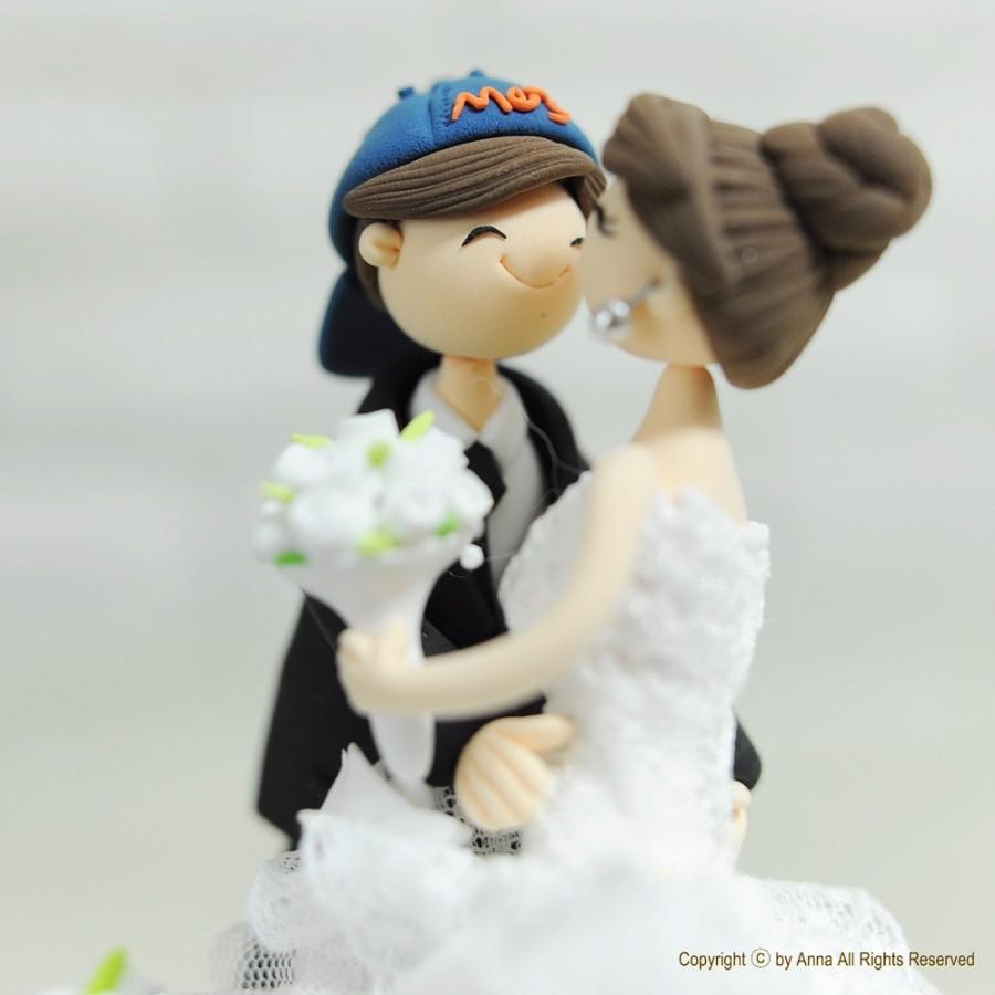 Свадьба - Baseball mania custom wedding cake topper gift Decoration - Forever as One