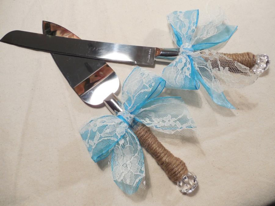 Wedding - Rustic Wedding-Shabby Chic Cake Knife Set, Wedding Cake Knife, Cake Server Set, Monogramed cake server set, Personalized Cake Serving Knife