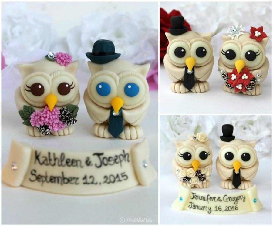 Mariage - Custom wedding love bird owl cake topper, champagne owl bride and groom, winter Christmas wedding with banner, pinecones bouquet