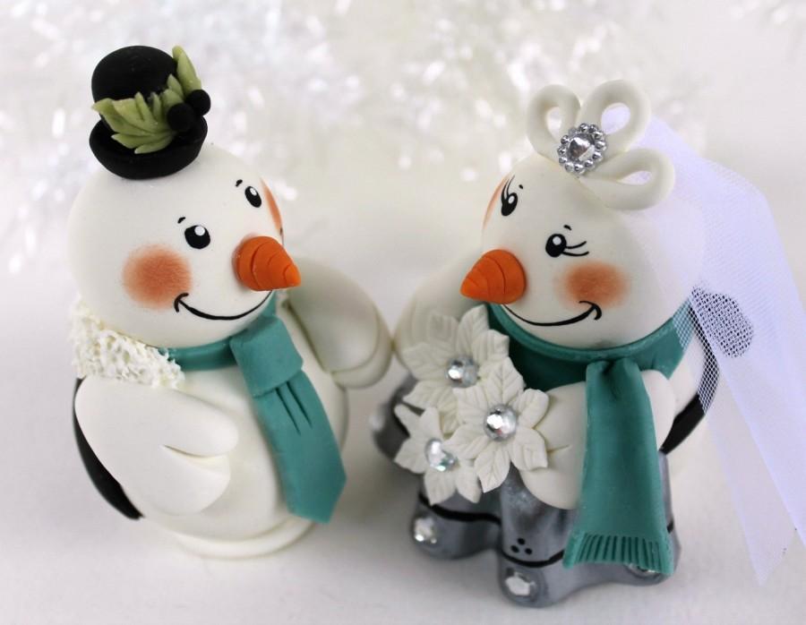 Mariage - Snowman wedding cake topper, winter teal silver wedding, customizable, Christmas decor