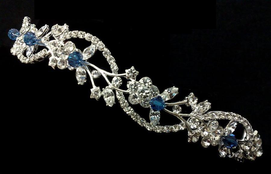 زفاف - Something Blue Bridal Crown, Sapphire Blue Wedding Tiara, Crystal Tiara, Vines Tiara, Floral Wedding Crown, Bridal Halo, Gift for Her ADORNA