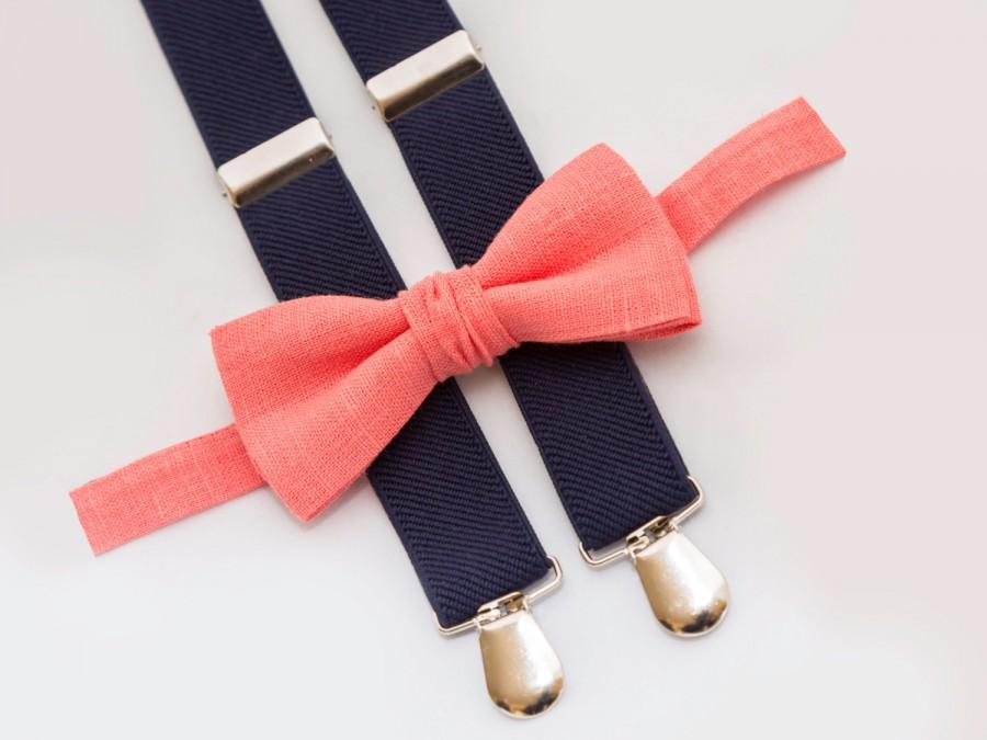 Mariage - Coral bow tie & Navy blue suspenders, ring bearer outfit, kids bow tie, Groomsmen bow tie suspenders