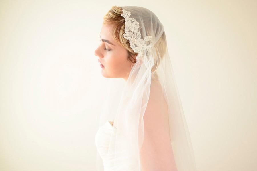 زفاف - Lace veil, Juliet Cap Veil, Juliet veil, wedding veil with lace, Kate Moss veil, 1920s veil, romantic veil, boho bohemian veil, vintage veil