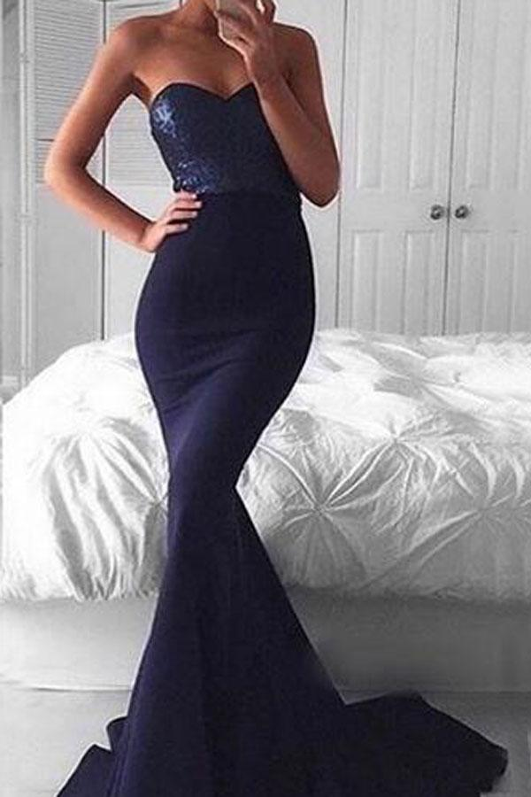 Mariage - Elegant Sweetheart Sweep Train Navy Mermaid Prom Dress with Sequins