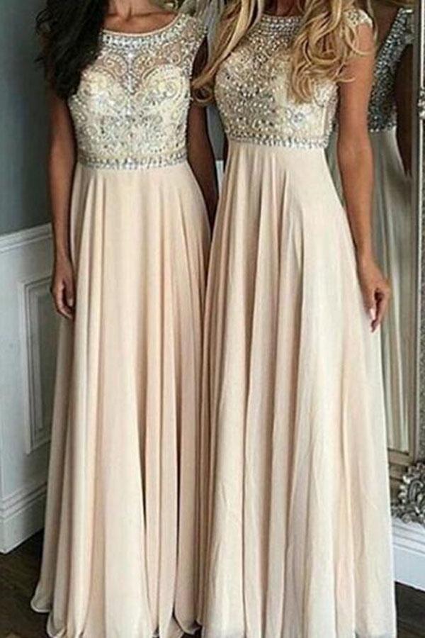 f6fe6e3a282 Stylish Bateau Cap Sleeves Floor-Length Prom Dress With Beading ...