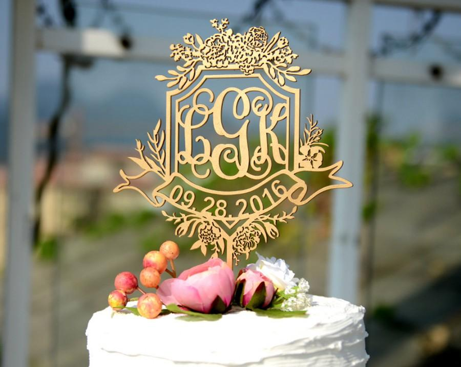 Mariage - Wedding Cake Topper Personalized with Date and Name, Custom Rustic Cake Topper Made of Linden Wood, Cake Topper with YOUR Names #145