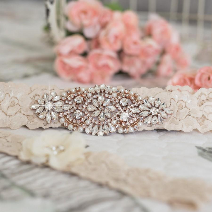 Hochzeit - Rose Gold Garter Ivory Lace Wedding Bridal Heirloom Vintage Garters