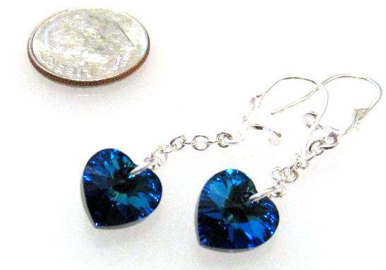 Свадьба - Swarovski Heart Earrings Dark Blue on Long Drop, Swarovski Blue Heart Earrings, Prom Jewelry, Blue Dangle Earrings, Blue Wedding Jewelry