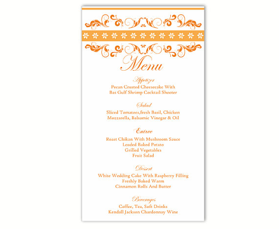 Свадьба - Wedding Menu Template DIY Menu Card Template Editable Text Word File Instant Download Orange Menu Template Gold Menu Printable Menu 4x7inch