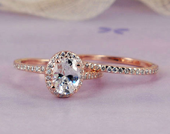 2 Carats Halo Rose Gold Ring Oval Cut Man Made Simulated Diamond