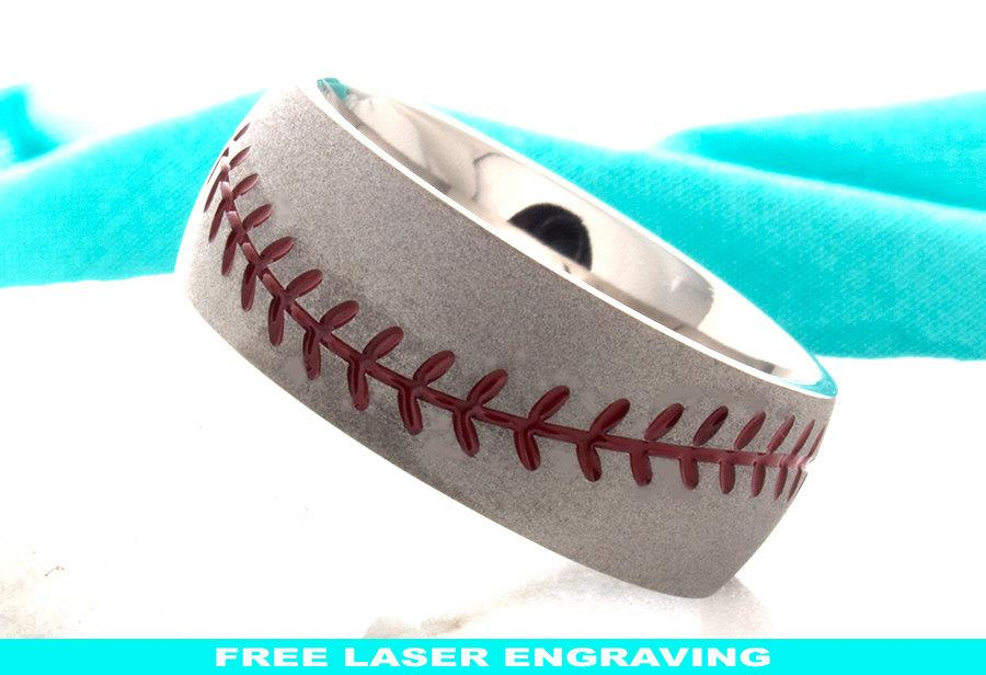 Titanium Baseball Wedding Ring Mens Wedding Band Titanium Baseball
