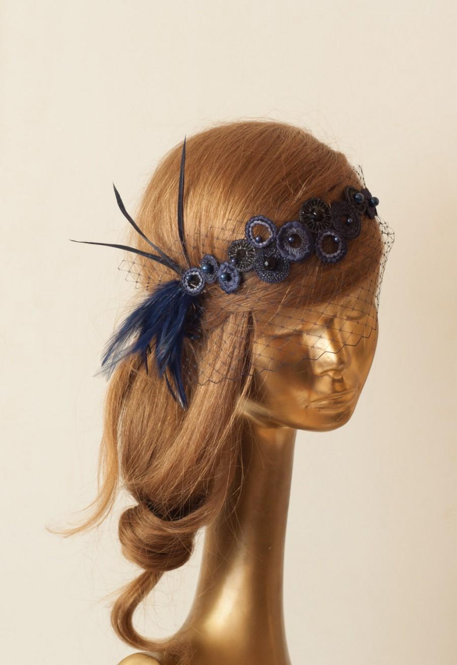BIRDCAGE VEIL. Navy Blue Veil .Vintage Wedding Headpiece With ... 53a0e18ec05