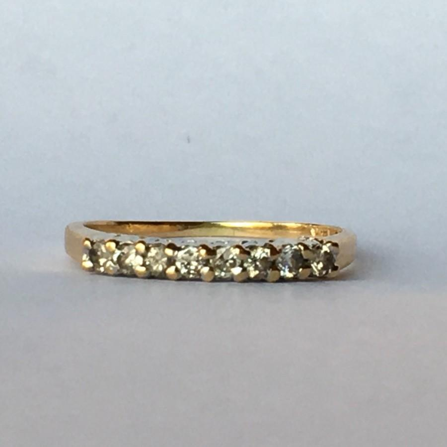 Vintage Diamond Wedding Band 14K Yellow Gold April Birthstone
