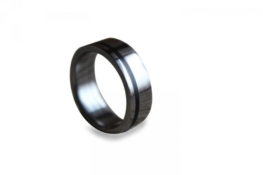 Свадьба - Men's titanium band titanium wedding band wedding ring engagement ring for men unisex titan ring with ebony wood inlay
