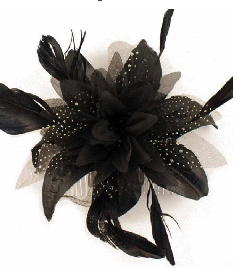 Hochzeit - Black fascinator Feather flower, Wedding, Bridesmaid, cocktail, Ascot Race, Prom Ball, Parties. Black hair Comb Head piece Hair accessory