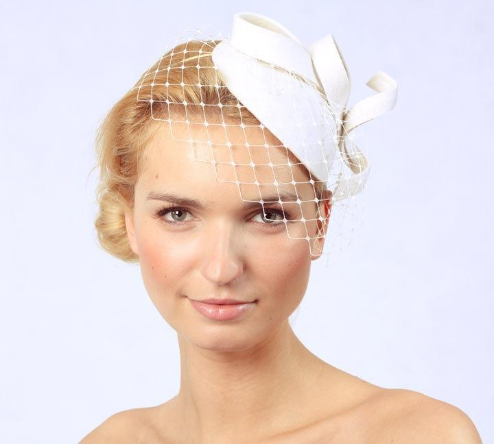 Mariage - Bridal Hair Accessories,Felt Mini Hat,Fascinator,Ivory