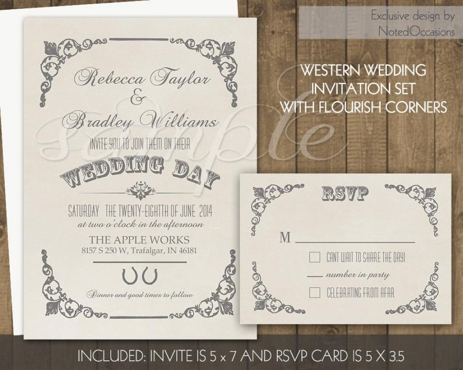 Mariage - Western Wedding Invitation Set Printable Country Vintage Style Corner Flourishes and Horseshoes Country Western Wedding Suite