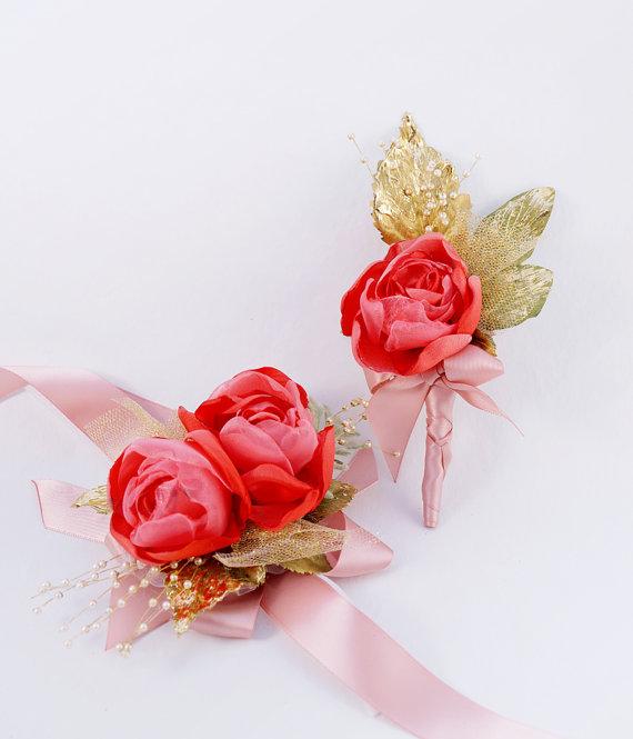 Hochzeit - Wedding Boutonniere Coral and Gold Wrist Bridal Corsage