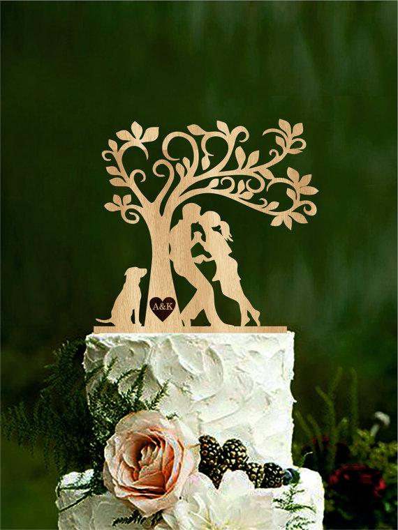 Свадьба - Wedding cake topper, bride and groom with dog, silhouette cake topper with initials, mr & mrs, tree rustic cake topper