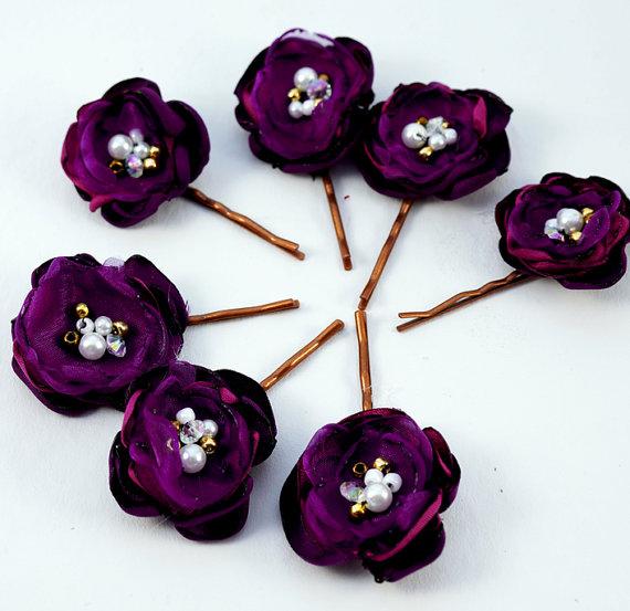 Свадьба - Wedding Fabric Flowers Hair Pin Plum Violet Lavender Eggplant Purple Bridal Flowers Set of 7