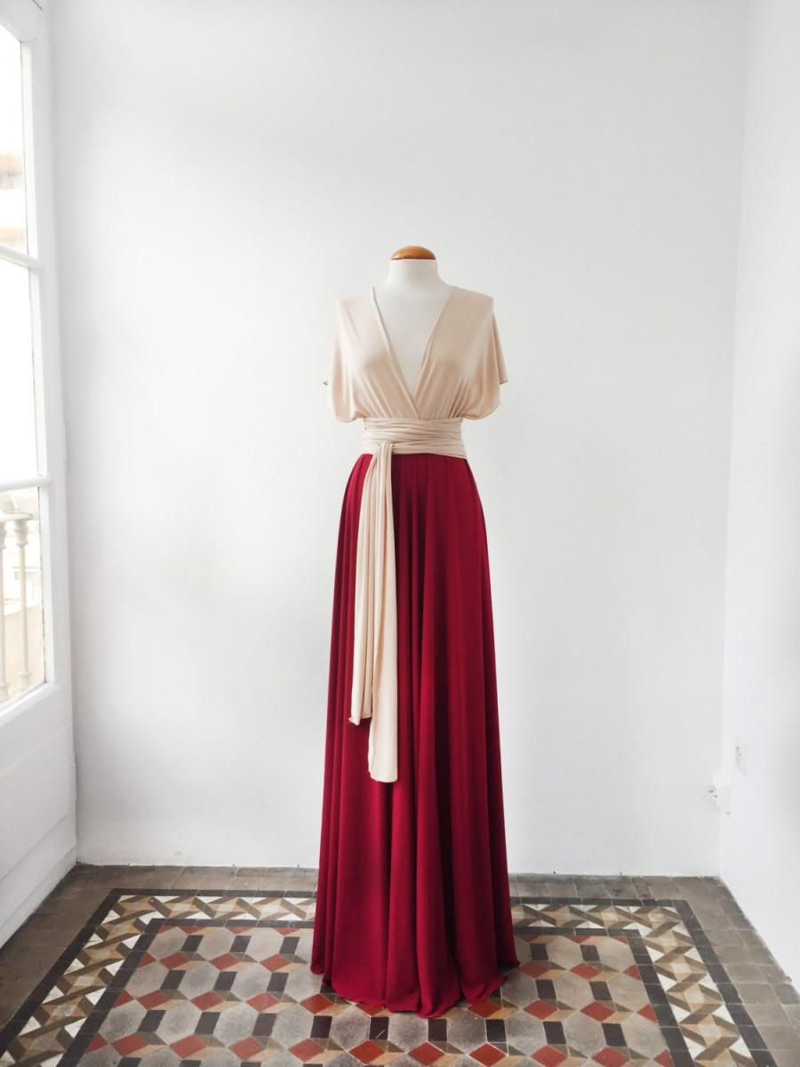 Mariage - Nude long evening dress, champagne red dress, two color bridesmaid dress, two toned dress, weddings, bridesmaids, evening gown long dresses