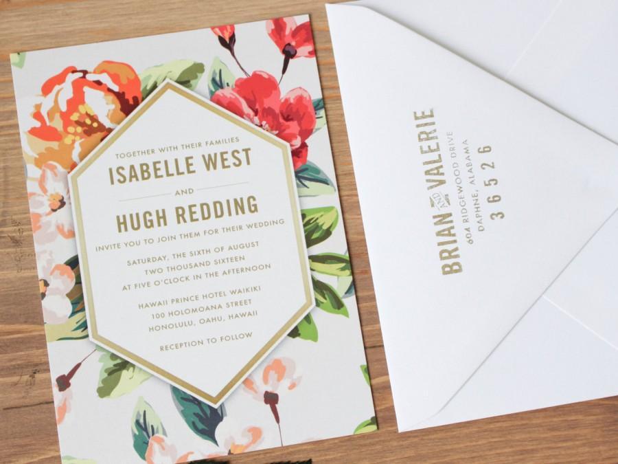 Mariage - Destination Wedding Invitation, Tropical Wedding Invitation, Geometric Wedding Invitation, Geo Wedding Invitation, Wedding Invitation