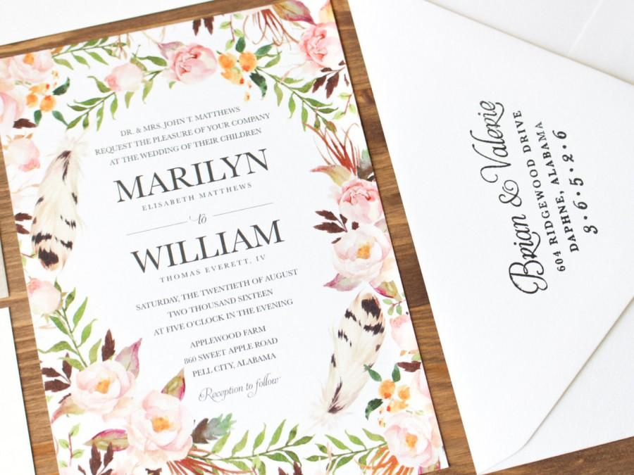 زفاف - Bohemian Wedding Invitation, Pink, Blush, Feathers, Floral, Spring, Fall, Woodland, Rustic, Vintage, Printable