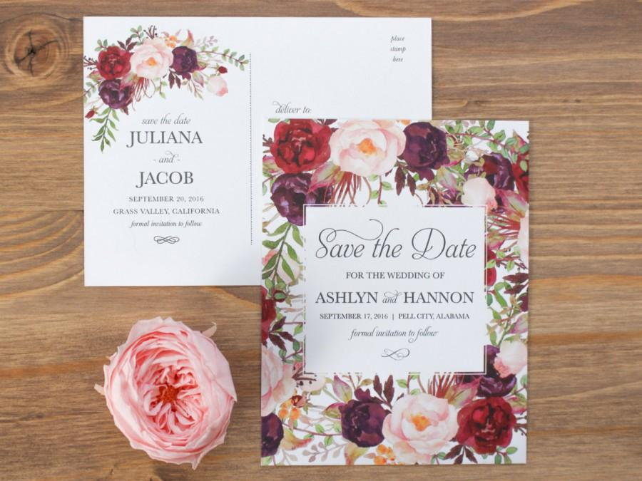 Mariage - Save the Date, Postcard, Rustic, Floral, Blush, Red, Marsala, Plum, Purple, Pink, Bohemian, Engagement Announcement