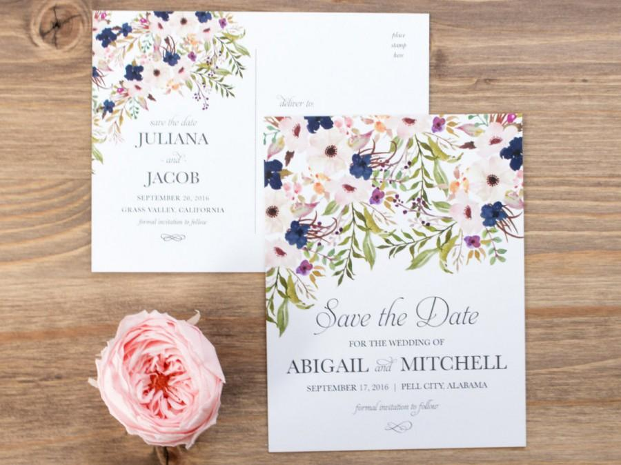 Свадьба - Save the Date, Postcard, Rustic, Floral, Blush, Navy, Pink, Bohemian, Engagement Announcement