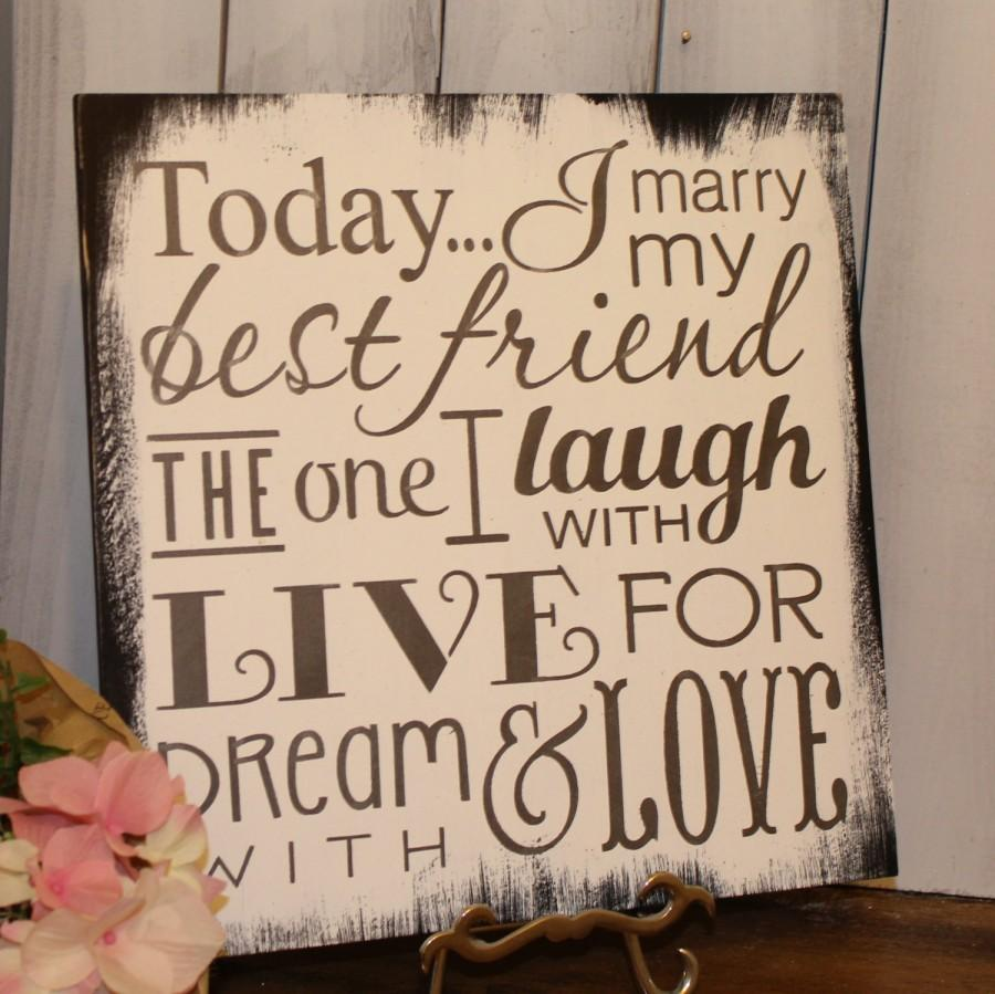 Mariage - Today I Marry My Best Friend Sign/Wedding Sign/Subway Style/Reception Sign/Romantic Sign/U Choose Colors/Black/White
