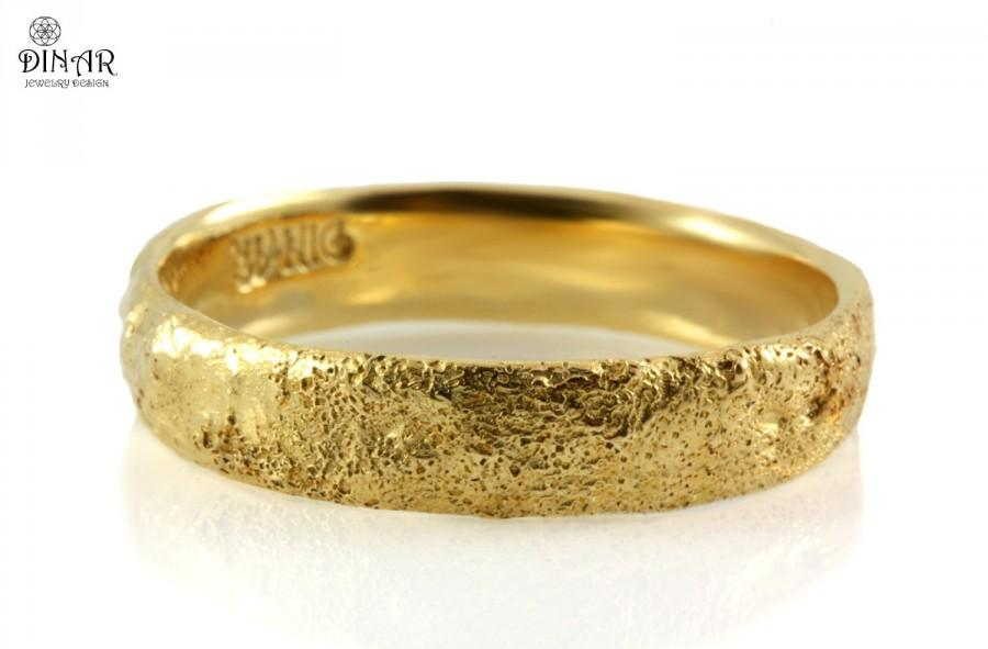 14k Gold Band Hammered Wedding Band Tree Bark Texture Rustic