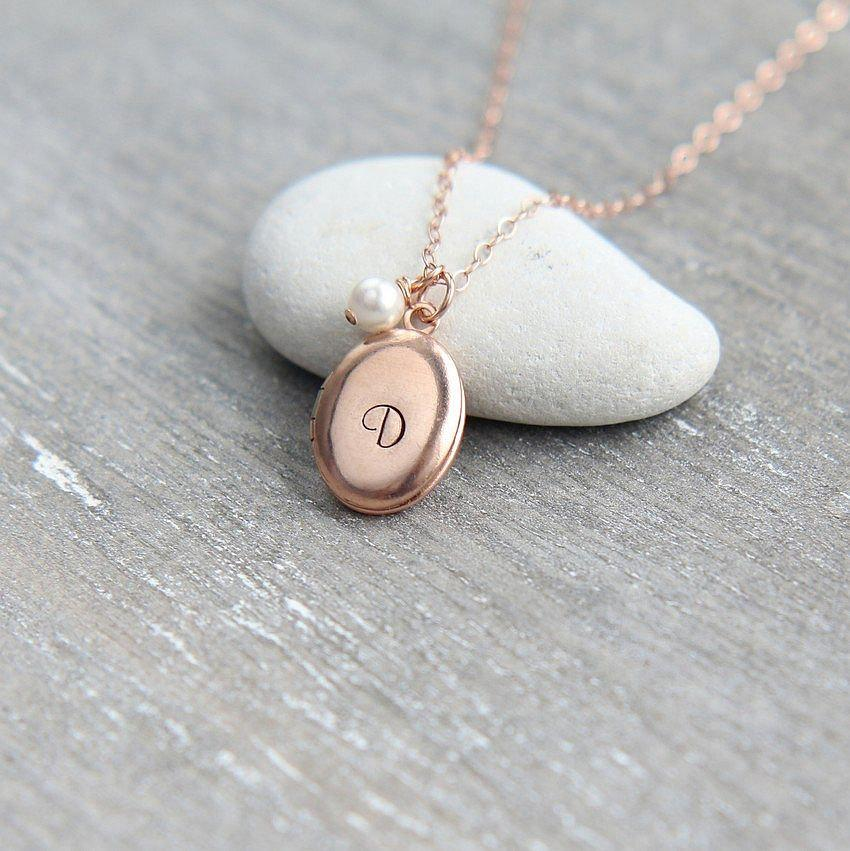 2055bcdfb0 Personalized Locket Necklace, Initial Locket Necklace, Rose Gold Locket,  Monogram Locket Pendant, Rose Gold Necklace, Bridesmaid Necklace